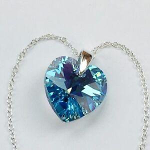 ced1bb168e89 Detalles de Collar Colgante Corazón De Cristal De Swarovski Elementos  Joyeria Aguamarina Plata- ver título original