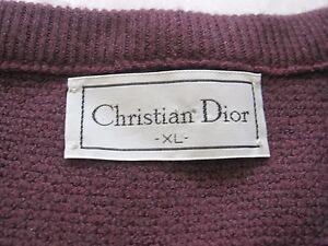 Vintage-Men-039-s-Christian-Dior-Sueter-de-cuello-en-V-Sueter-Sz-XL-Hecho-en-EE-UU