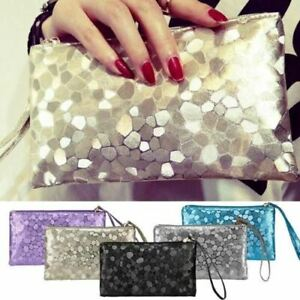 New-Ladies-Clutch-Purse-Pouch-Small-Zipped-Bag-Metallic