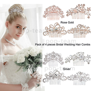 4pcs-Crystal-Pearl-Wedding-Bridal-Hair-Combs-Band-Accessories-Bride-Hair-Jewelry