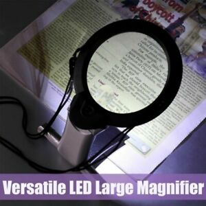 6-fach-Lupe-Faltbar-Mit-2-LED-Lampe-Standlupe-Tischlupe-Leselupe-Lesehilfe