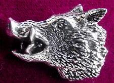Pewter Hunting Snarling Wild Boar Pig Pin Brooch Pin