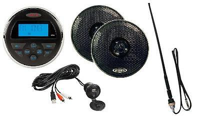 Jensen MS30 Waterproof 80W Radio Speakers Antenna AM/FM iPod MP3 USB ATV Boat