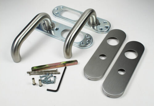 Stainless Steel Safety Door Lever with Steel Backplate 1 pair 19mm dia
