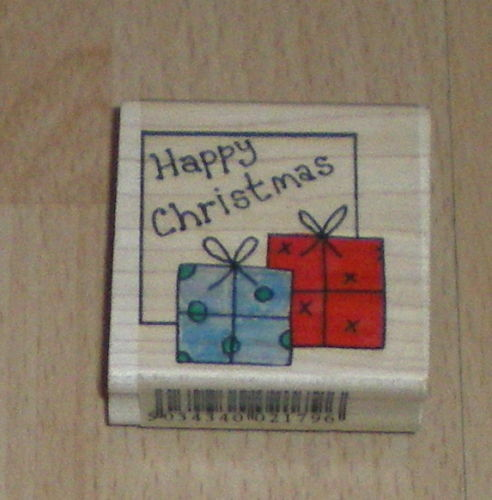 Personal Impressions CHRISTMAS Wooden Rubber Stamp HAPPY CHRISTMAS P1136D