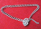 BEAUTIFUL VINTAGE ITALIAN STERLING SILVER HEART LOCKET CHAIN BRACELET B58