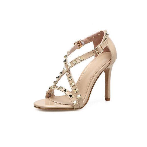 Sandalen Elegant Leder Kunststoff Stilett 11 cm Beige Stachel Elegant 9722