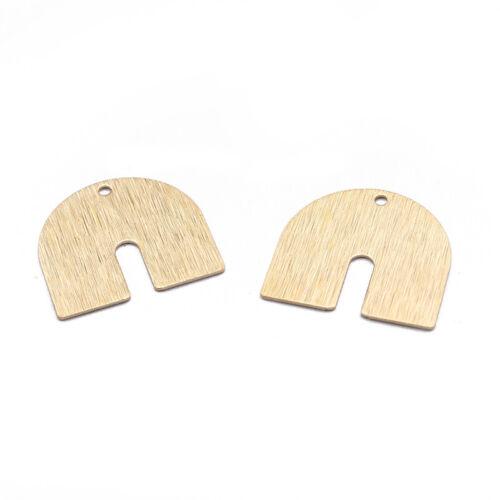 20Pcs Raw Brass Geometry U Shaped Charms Pendants DIY Jewelry Crafts Findings