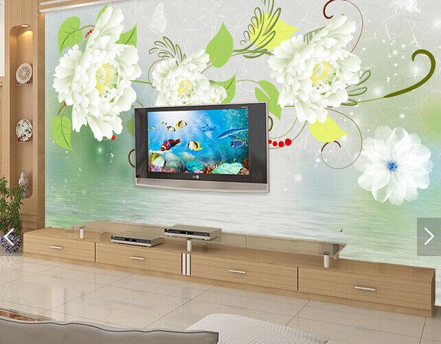 3D Weiß Peony 512 Wallpaper Murals Wall Print Wallpaper Mural AJ WALL AU Kyra