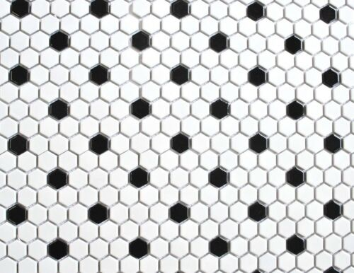 White W/ Black Mixed Hexagon Porcelain Mosaic, One Box (10 Pcs) Floor And Wall by Squarefeet Depot
