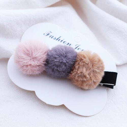 Lovely Girls Baby Kids Hair Clips Pompom Rabbit Faux Fur Ball Alligator Slides