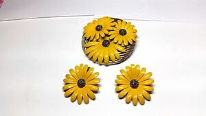 Gorgeous-Yellow-Enamel-Sunflower-Pin-Vintage-clip-on-Earrings