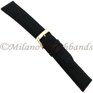 20mm-Speidel-Black-Field-Leather-Soft-Suede-Padded-Stitched-Mens-Band-Reg-777730