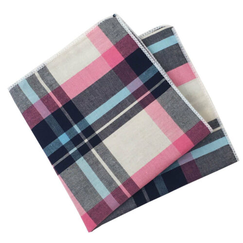 Pink Light Blue and White Plaid Pocket Square Navy Blue