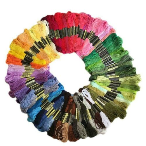 50 Multi Colors Cross Stitch Cotton Embroidery Thread Floss Sewing Skeins