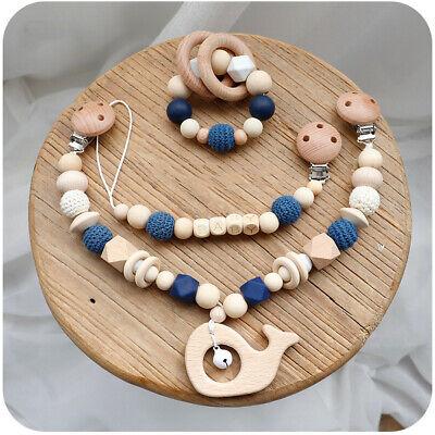 Handmade Baby Gift Set Pram Chain Garland Dummy Clip Holder Rattle Teether 3 Pcs