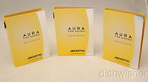 Jacomo-AURA-Women-EAU-DE-TOILETTE-3-Sample-Vials-04-oz-1-2-ml-NEW-Vintage