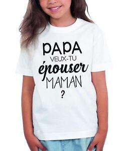 T-shirt ENFANT Papa veux tu épouser maman?