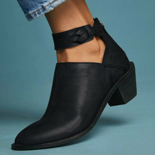 Womens Boots Chunky Thick Heel Pumps Ankle Boot Combat Casual Walking Shoes Size