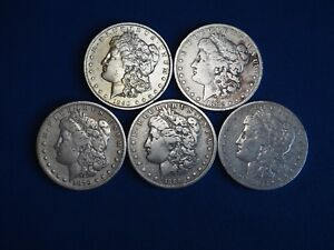 1878-1904-Morgan-Silver-Dollars-F-VF-Fine-Very-Fine-Pre-1921-Lot-of-5-Coins