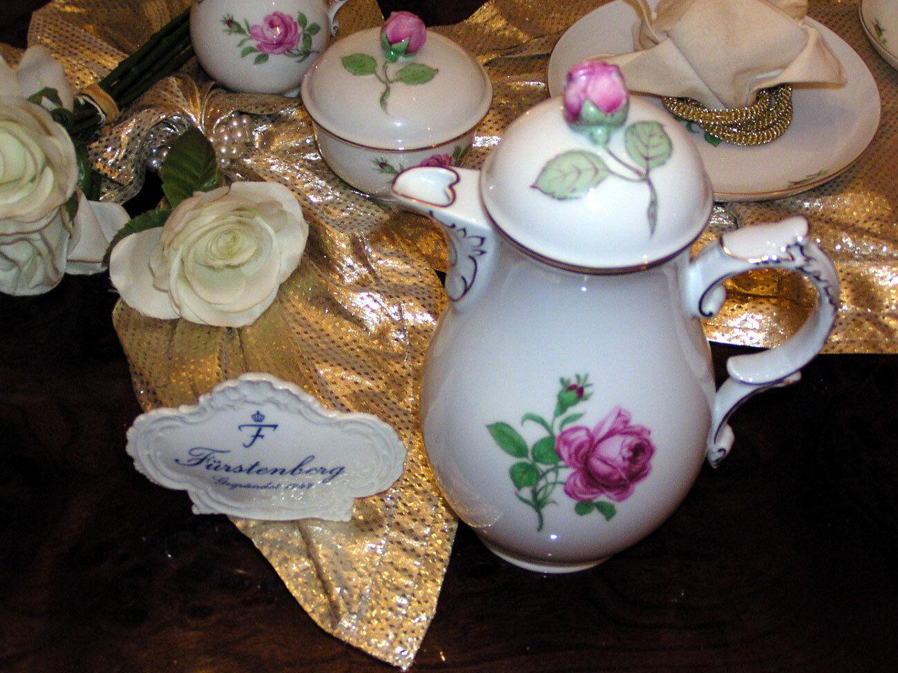 Edle Kaffeekanne von Fürstenberg Rote Rosa TOP | Ideales Geschenk für alle Gelegenheiten