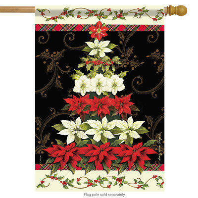 """Christmas in Bloom House Flag Poinsettia Holiday Tree Double Sided 28/"""" x 40/"""""""