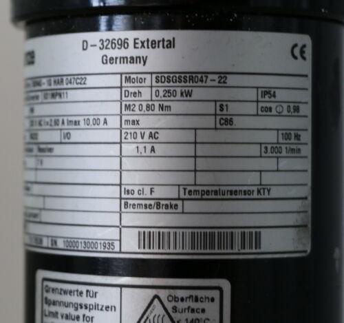 Lenze Getriebemotor SSN40-1G HAR 047C22 29,0 Nm Motor SDSGSSR047-22 M2 max