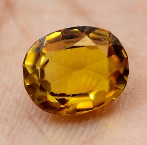 Certified 07 mm Loose Gemstone B-4864 Natural yellow Sapphire Oval 1.90 Carat