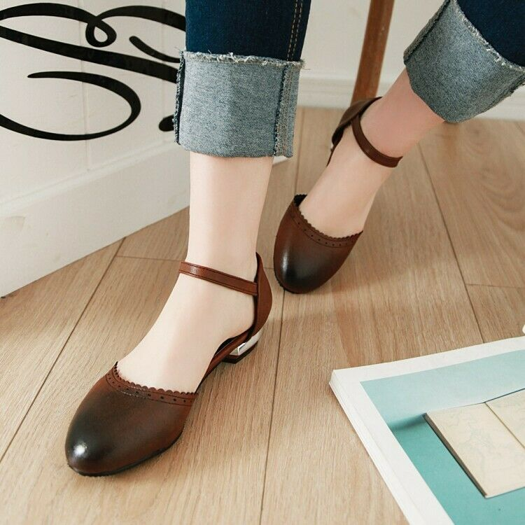 Retro Women's Faux Leather Mary Jane Shoes Pumps Casual Round Toe Low Heels