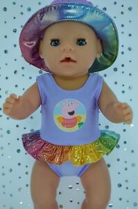 """Play n Wear Dolls Clothes To Fit 17"""" Baby Born LILAC SWIMMING COSTUME~SUN HAT"""