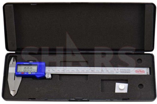 "SHARS 8/"" 200mm Electronic Digital Caliper Stainless .0005"" FRACTION 1//128 New"