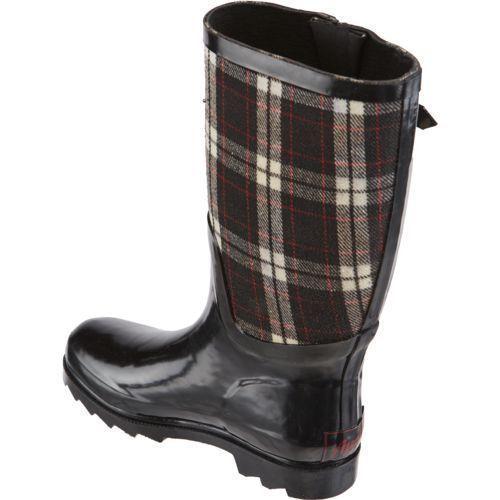 NEW Austin Trading Women's Rubber Flannel Rain Black Boots Size US 6 M NEW