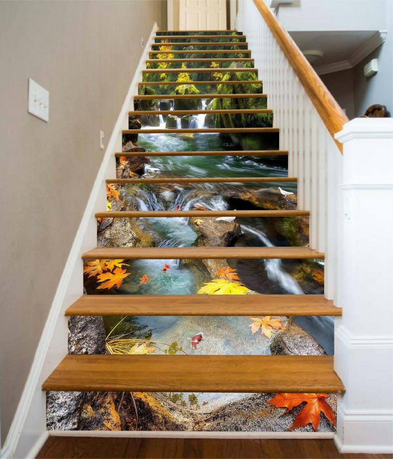 3D Rivulet Leaf 3 Stair Risers Decoration Photo Mural Vinyl Decal Wallpaper UK