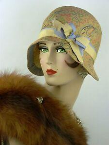 VINTAGE-HAT-1920-S-USA-EXCEPTIONNELLE-CLOCHE-lasdon-NY-amp-Paris-peints-a-la-main-paille
