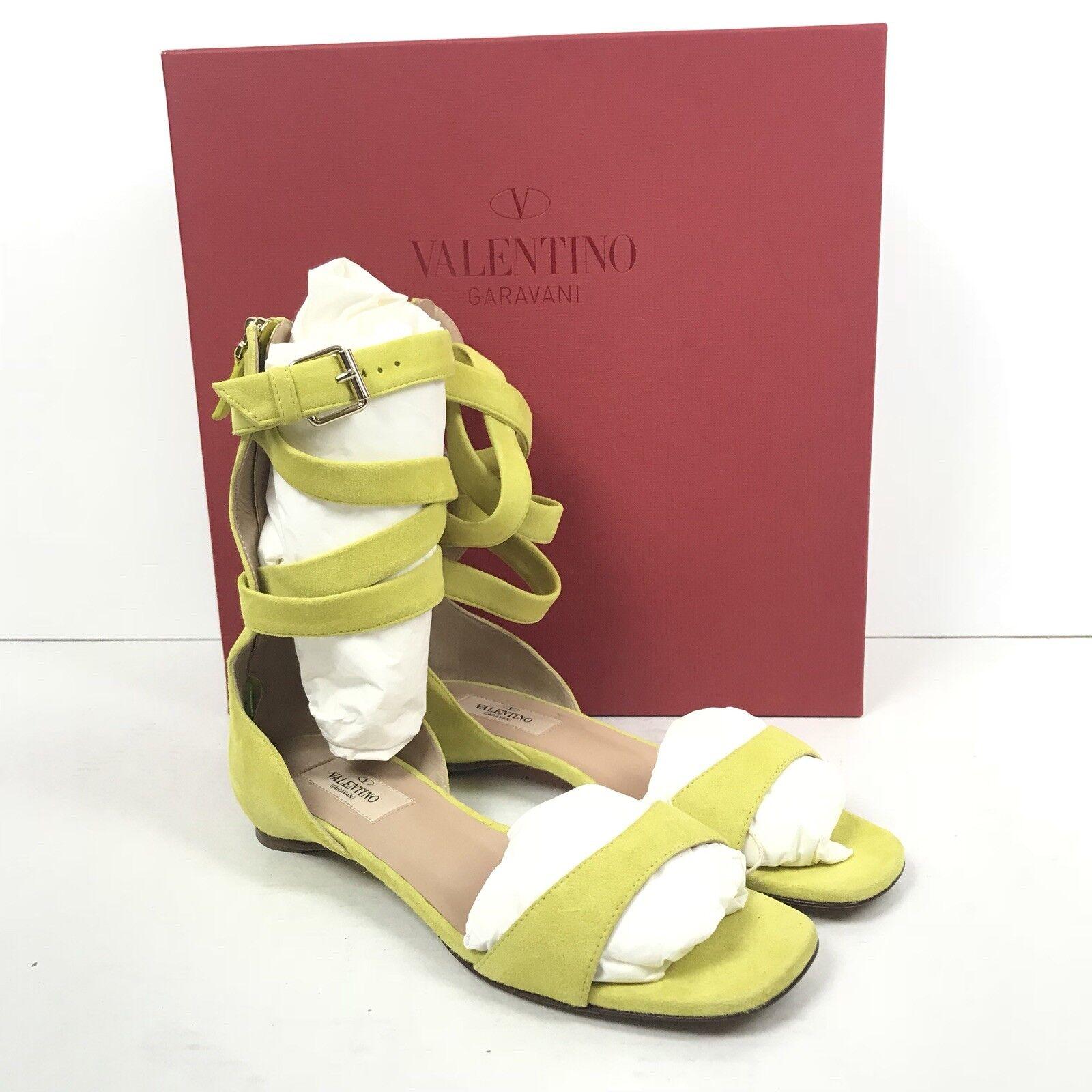 Auth Valentino Garavani Plum Ankle Wrap Grün Flat Sandale SZ 36.5 Grün Wrap Suede 795 c36458