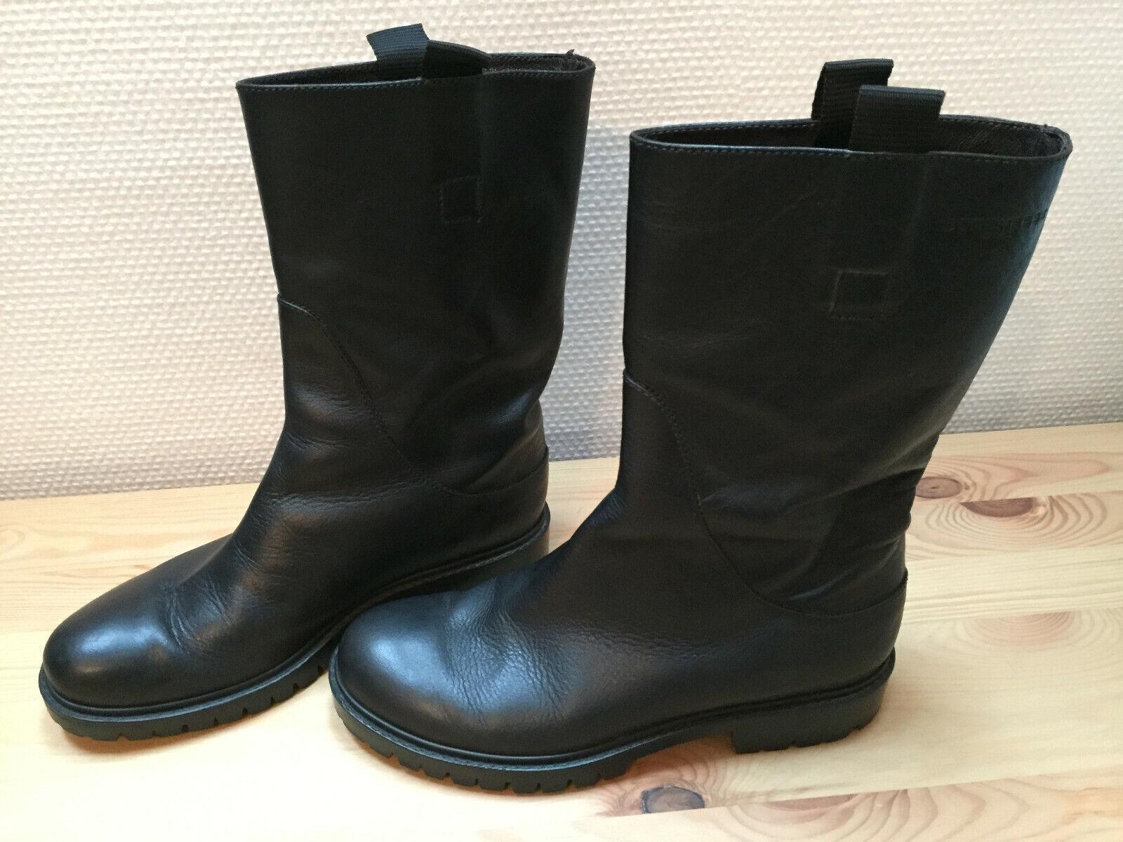 STRENESSE Blau Damen-Lederstiefel Stiefelette Stiefel Gr. 37 schwarz - TOP