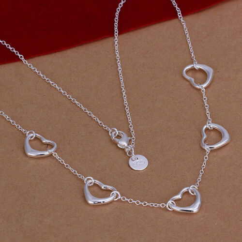 wholesale Sterling solid silver fashion jewelry Chain 5heart Necklace XLSN121