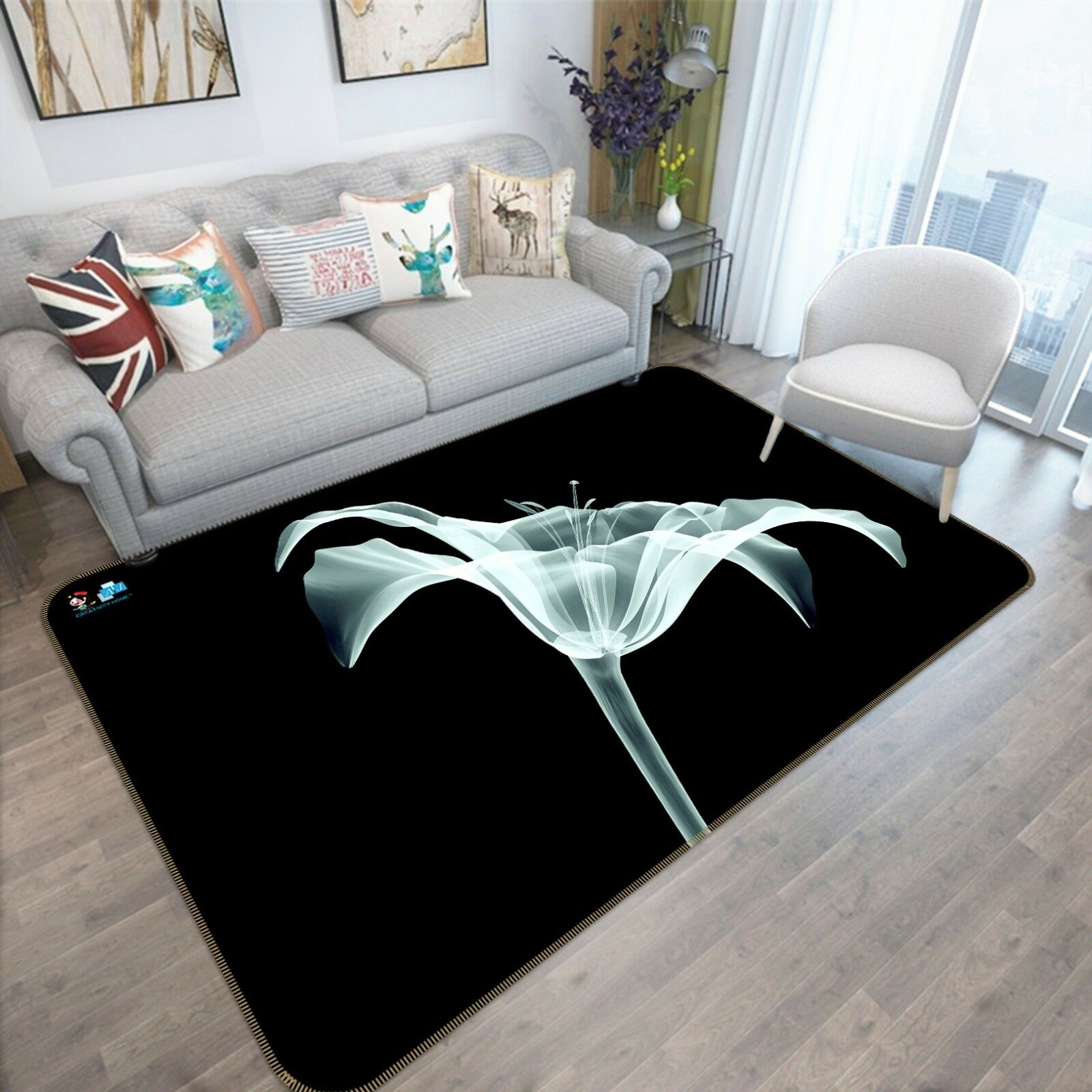 3D Negro Alfombra colchoneta de flor 55 Antideslizante Alfombra De Sala Elegante De Calidad Foto Alfombra
