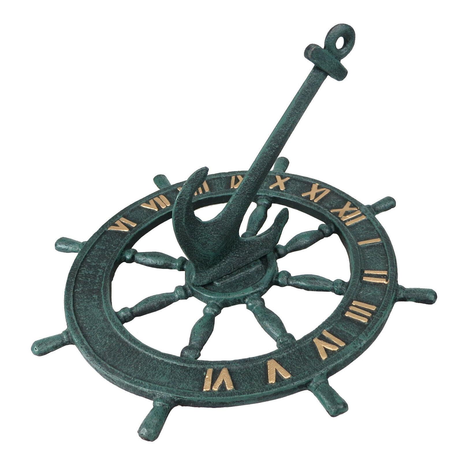 Cast Iron Green Anchor Sundial 24cm Garden Ship Wheel Anchor Nautical Decor Gift