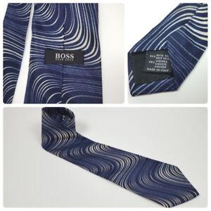Hugo-Boss-Men-039-s-Silk-Viscose-Tie-Navy-White-Wave-Design-Made-in-Italy