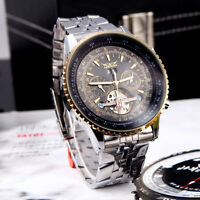 Jaragar Automatic Self-winding Date Mens Mechanical Wrist Watch Steel Gold Black