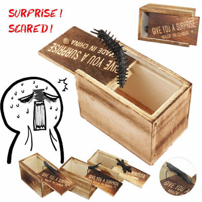 Horror Gag Toy Wooden Prank Spider Scare Box Hidden in Case Trick Joke Toys Gift
