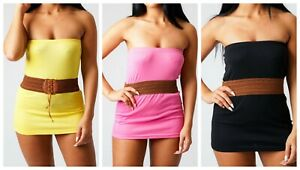 Micro-Mini-Bandeau-Dress-Women-039-s-Ladies-Girls-Strapless-Sleeveless-Sundress
