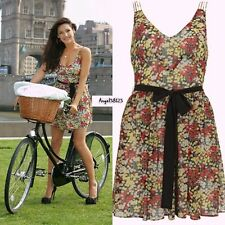 Kate Moss Topshop Floral Ditsy Yellow Red Short Sun Dress UK 8 US 4 EU 34/36
