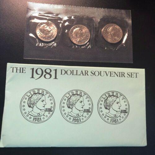 Anthony Dollar Souvenir Set of 3 ~ S P/&D Mints Sets Only ~ Rare ~ 1981 Susan B