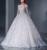 NEW Half Sleeve Lace Wedding Dress White / Ivory Bridal Ball Gown Custom Size