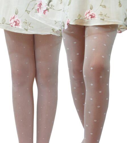 Girls Occasion Tights 20 Denier Dots Pattern Bridesmaid Communion Age 6-11