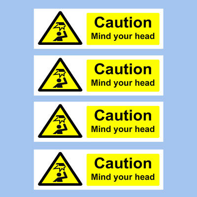 WG19 Warning Mind head//mind step Caution Mind your head Sticker//Self Adhesive Sign