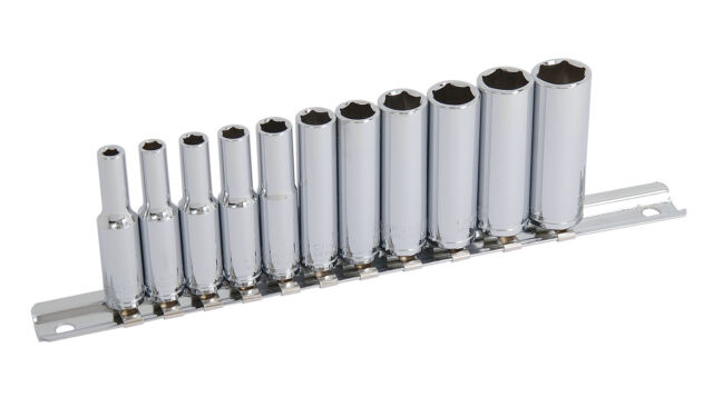 "CT0753 Quality 11PC 1/4"" Dr Metric Deep Long Reach Socket Set & Rail Size 4-13mm"