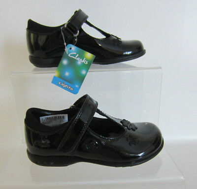 Clarks Girls Trixi Beau Pre Lights Black Patent Shoes UK 7 to 9.5 G Fit (GO)